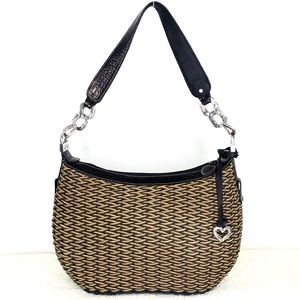 Brighton Vintage Straw And Black Croc Shoulder Bag
